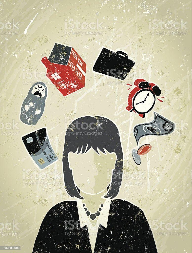Femme d'affaires, entouré de vie, de travail et de l'argent symboles - Illustration vectorielle
