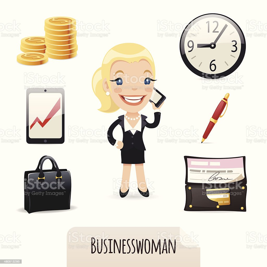 Businesswomans icons set royalty-free stock vector art