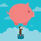 Businesswoman's Piggy Bank Hot Air Balloon Outlook   New Business