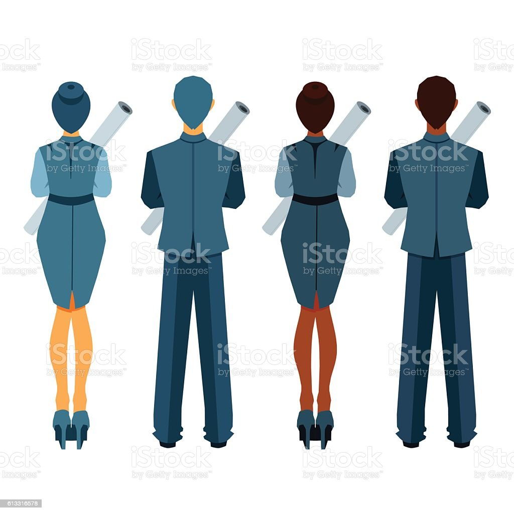 Businesswomen and businessmen from behind with roll of paper.