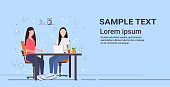 businesswomen colleagues sitting at workplace desk couple business women using laptop working together successful teamwork concept flat full length copy space horizontal vector illustration