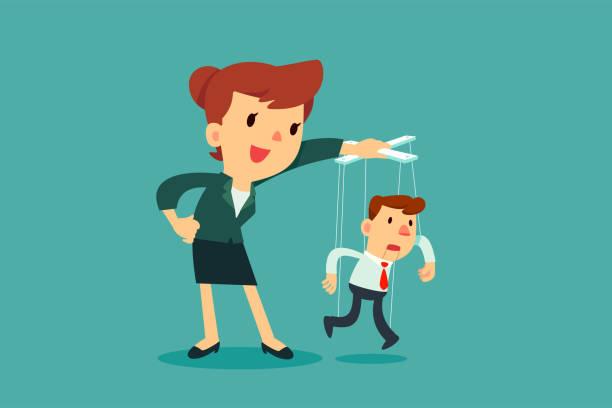 Geschäftsfrauen, die Kontrolle der Marionette Geschäftsmann – Vektorgrafik