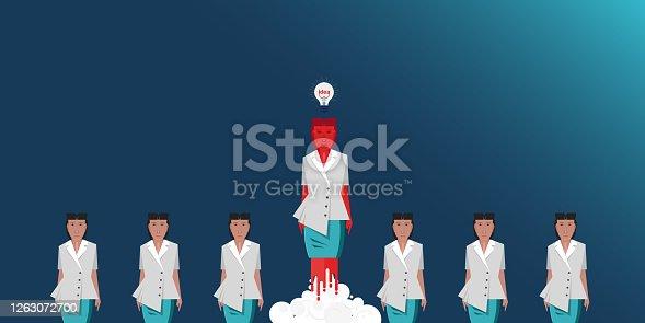 istock Businesswomen exit from comfort zone stock illustration 1263072700