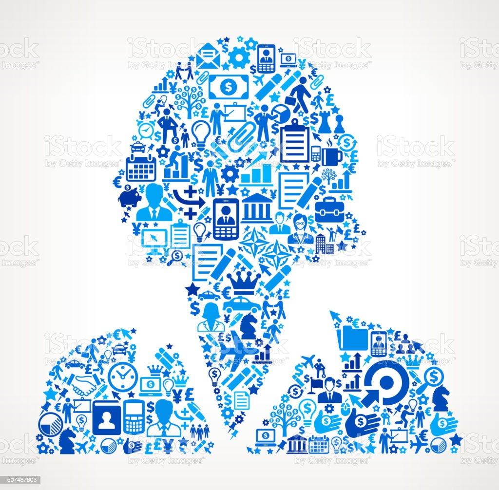 Businesswomen Face on Business Icon Pattern