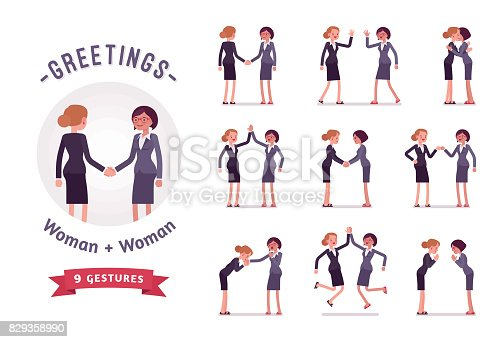 Businesswomen greeting, handshaking, giving high five. Ready-to-use character set. Various poses, emotions, standing, fist bump, bow, hug. Full length, front, rear view isolated, white background