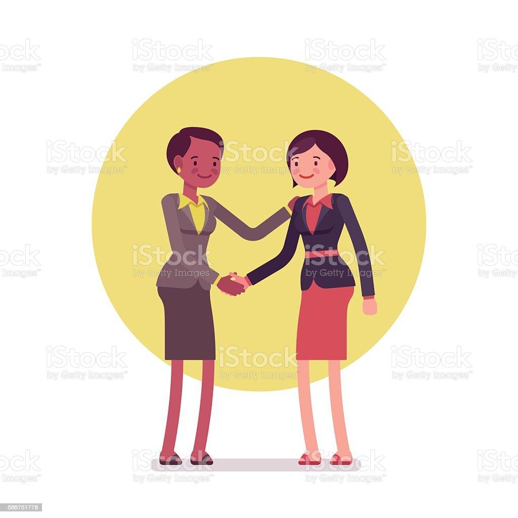 Businesswomen greeting handshaking vector art illustration