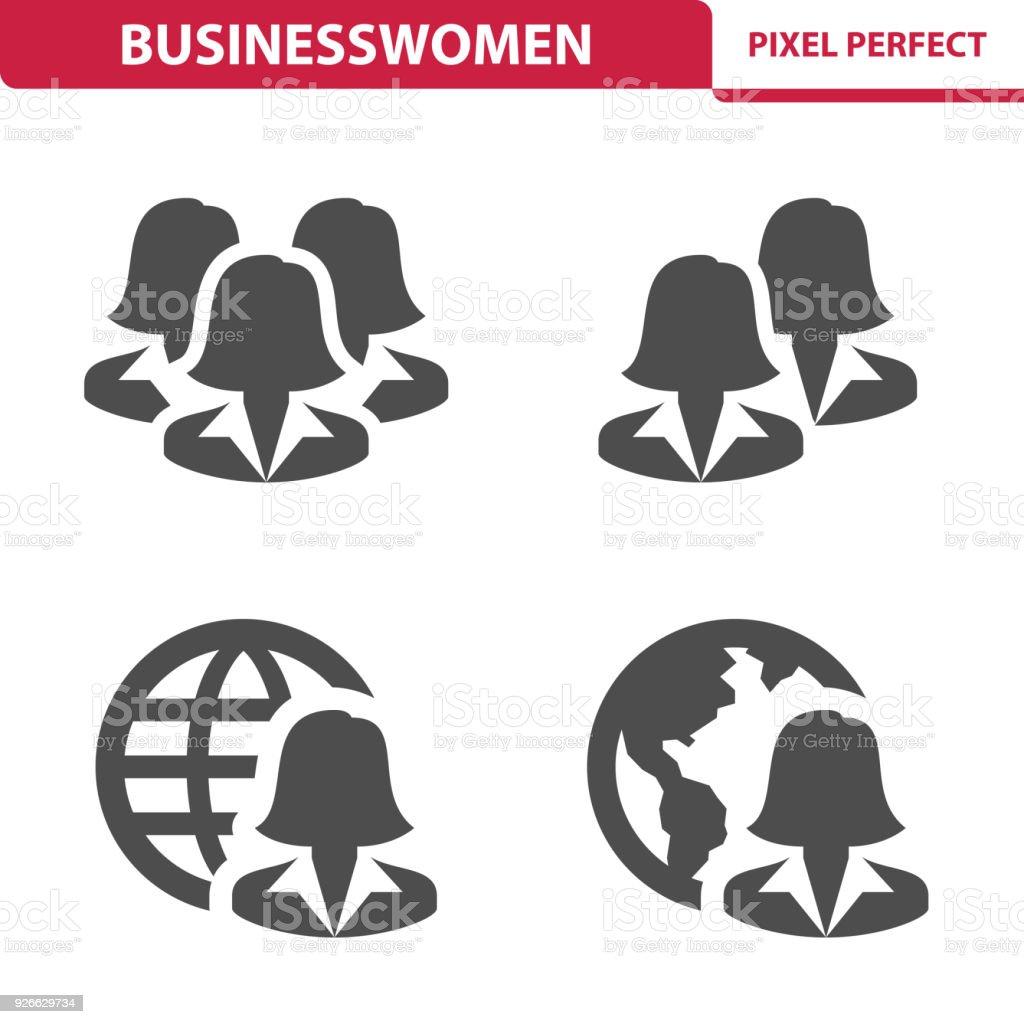 Businesswomen Icons vector art illustration