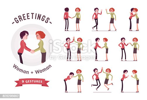Ready-to-use character set. Businesswomen in handshake. Various poses, emotions, greeting, standing, fist bump, giving high five, a bow, a hug. Full length, front, rear view isolated, white background
