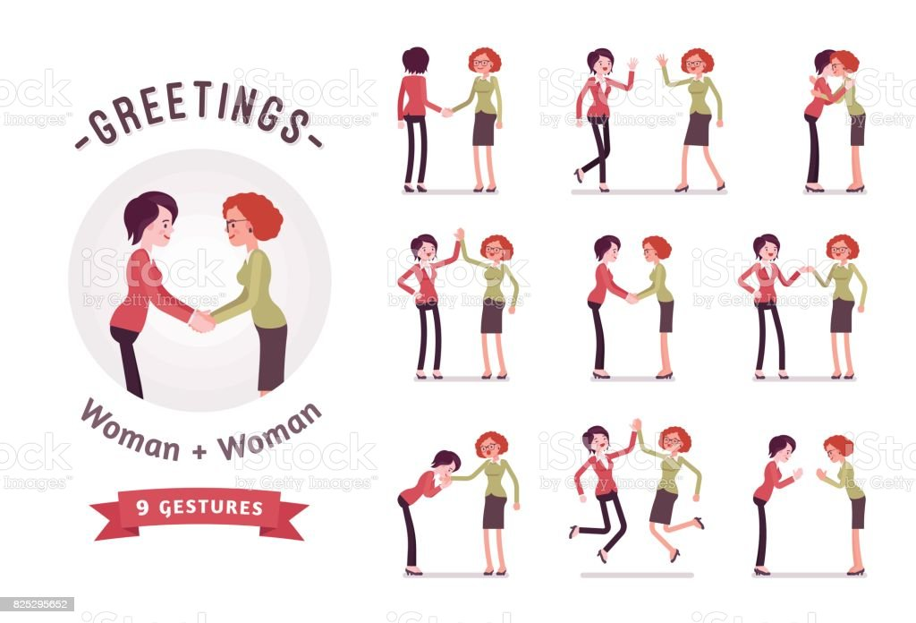 Businesswomen in handshake character set, various poses and emotions vector art illustration