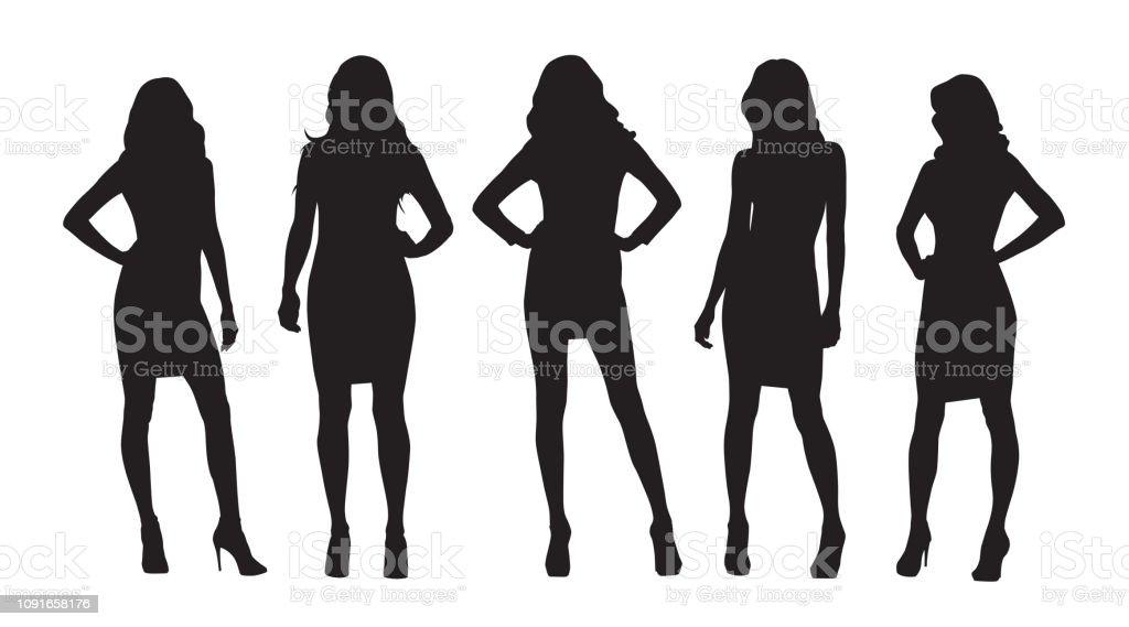 Mujeres empresarias aislaron vector siluetas. Grupo de mujeres en el trabajo ilustración de mujeres empresarias aislaron vector siluetas grupo de mujeres en el trabajo y más vectores libres de derechos de actitud libre de derechos