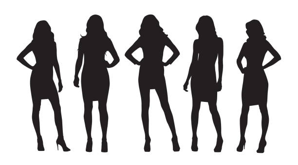Businesswomen isolated vector silhouettes. Group of women at work Businesswomen isolated vector silhouettes. Group of women at work in silhouette stock illustrations
