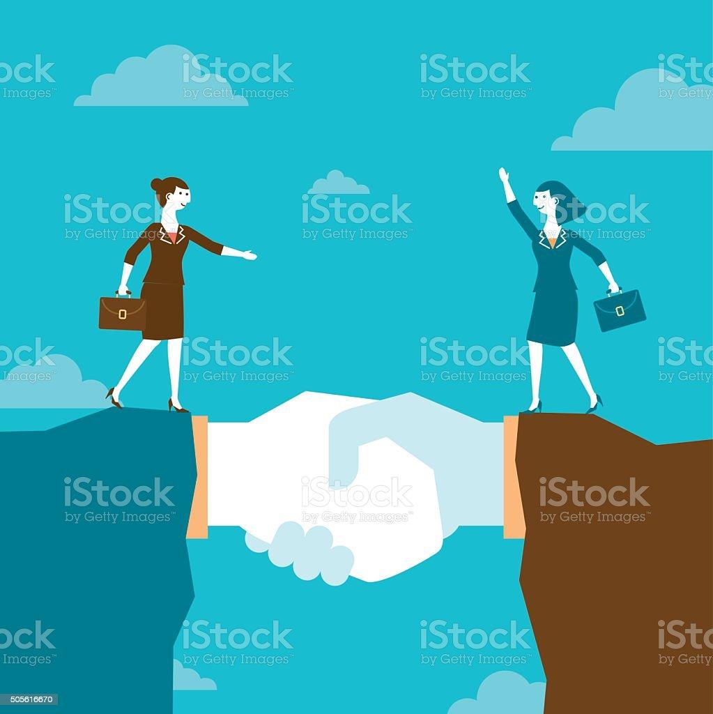 Businesswomen on Giant Handshake Mountain   New Business Concept vector art illustration