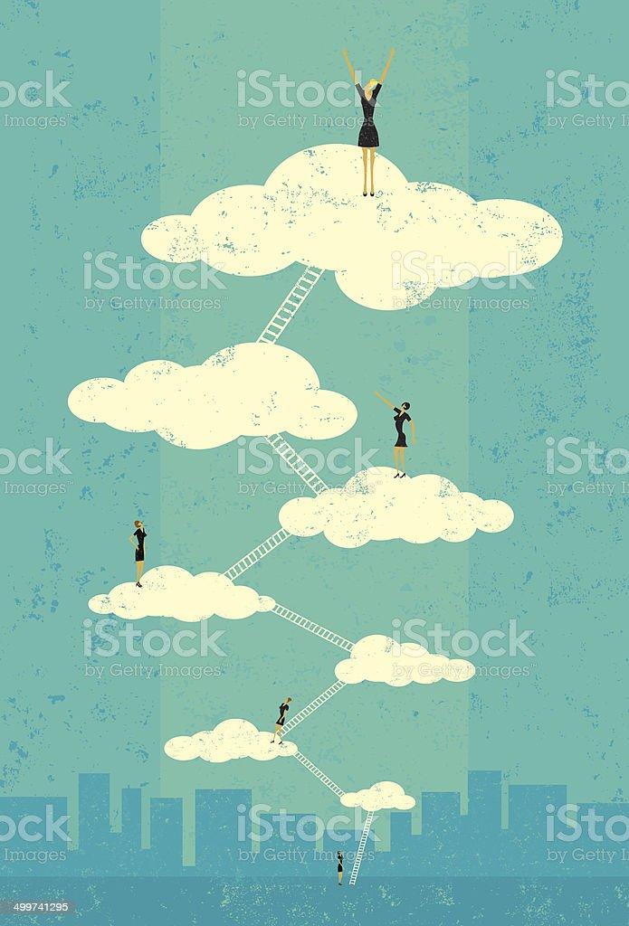 Businesswomen reaching seventh heaven vector art illustration
