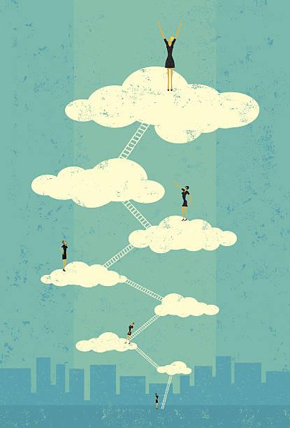 businesswoman osiągać seventh heaven - stopnie do sukcesu stock illustrations