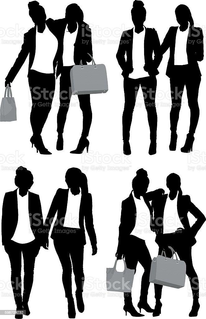 Businesswomen standing vector art illustration