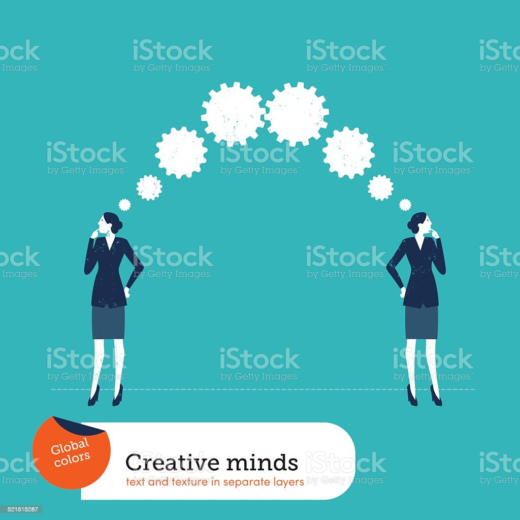 Businesswomen thinking gears vector art illustration