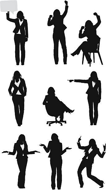 businesswomen ベクターを別の位置 - 拳 イラスト点のイラスト素材/クリップアート素材/マンガ素材/アイコン素材