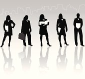 This is a set of businesswomen silhouettes holding books in various poses. This download contains an editable EPS file, as well as a large JPG file.