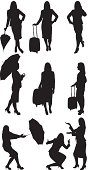 Businesswomen with luggage and umbrellahttp://www.twodozendesign.info/i/1.png