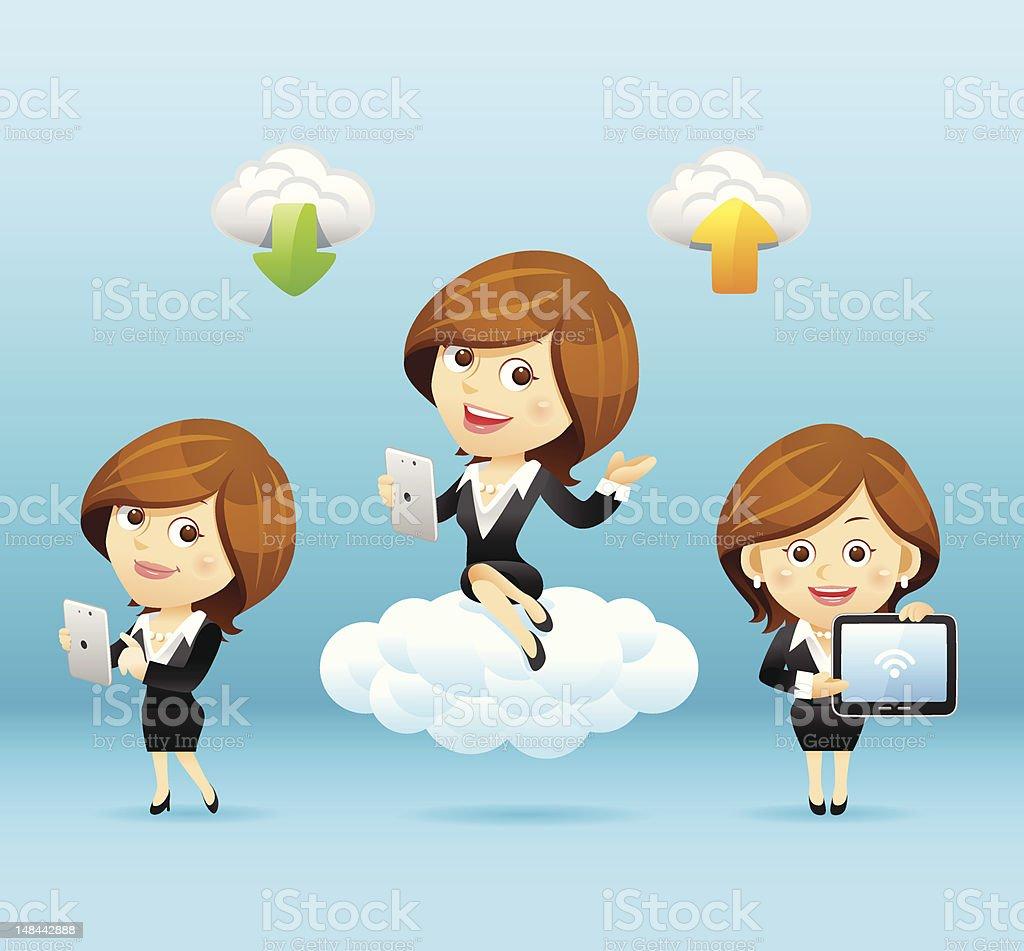 Businesswomen 、タブレット PC 、クラウドコンピューティングセット ベクターアートイラスト