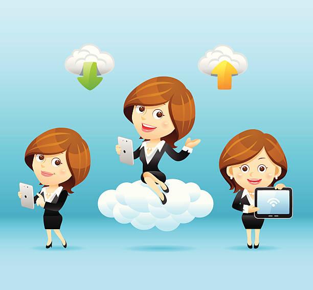 businesswomen 、タブレット pc 、クラウドコンピューティングセット - 受付係点のイラスト素材/クリップアート素材/マンガ素材/アイコン素材