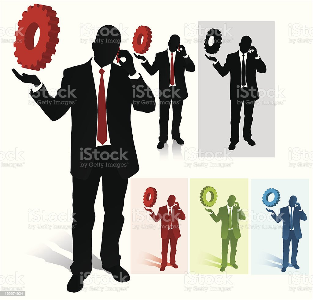 Bussines Man Holding a Gear royalty-free stock vector art