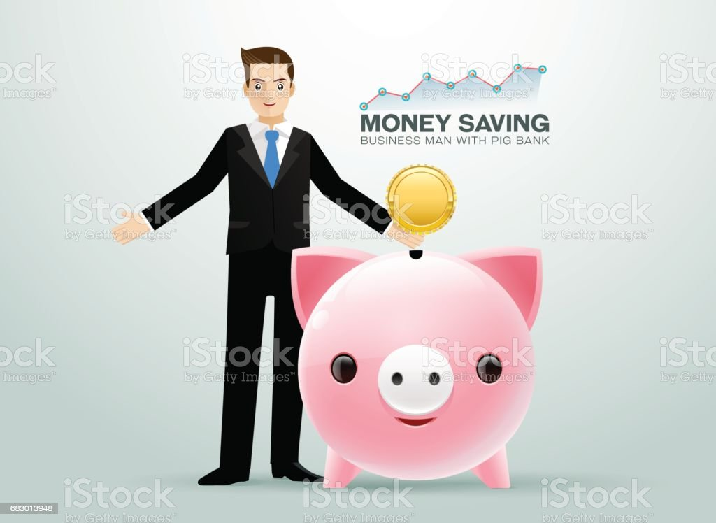 Bussiness man pig bank coin saving money royalty-free bussiness man pig bank coin saving money stock vector art & more images of adult