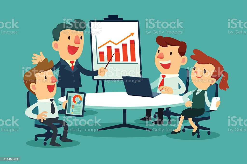 bussiness meeting vector art illustration