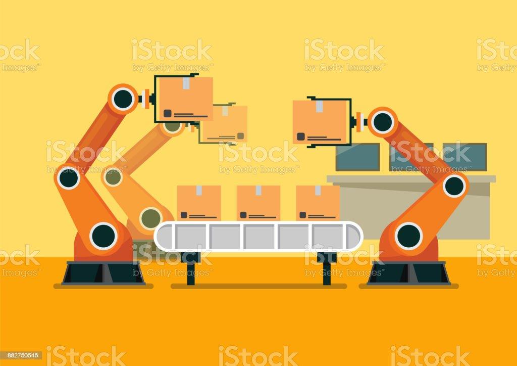 Bussinessman tablet aan controle automatisering robot arm machine met slimme fabriek industriëlevectorkunst illustratie