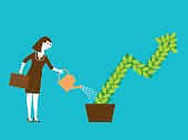 Concept illustration of a businesswoman watering a growing plant.
