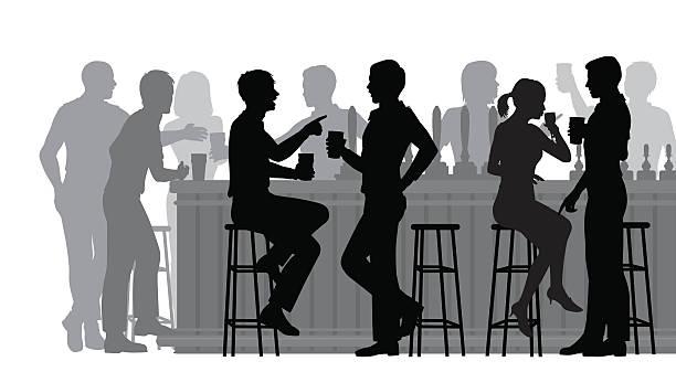 zajęty bar - bar lokal gastronomiczny stock illustrations