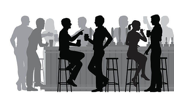 busy bar - alcohol drink silhouettes stock illustrations