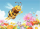 A cheerful bee with a honey bucket flying over a beautiful floral meadow. EPS 8, fully editable and labeled in layers.