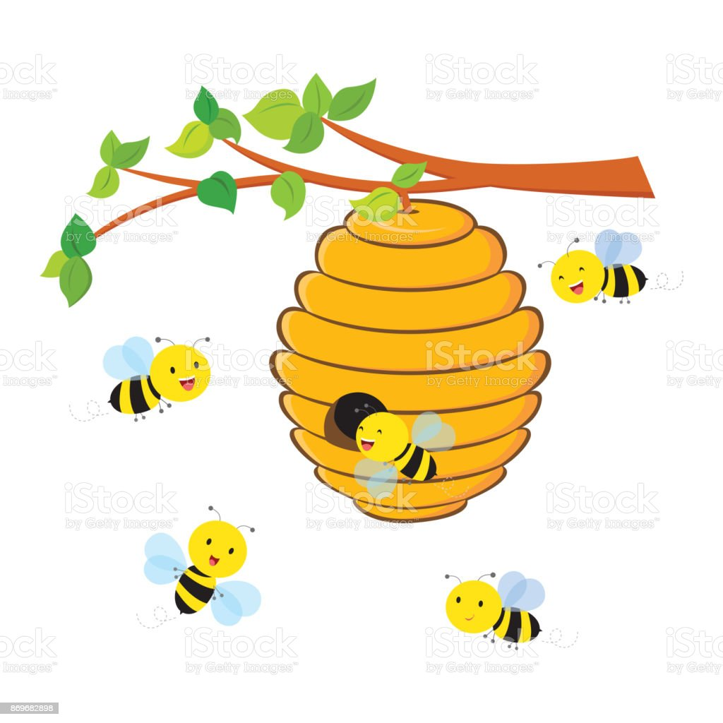 Busy Bees Flying Around A Beehive Stock Vector Art & More Images of ...