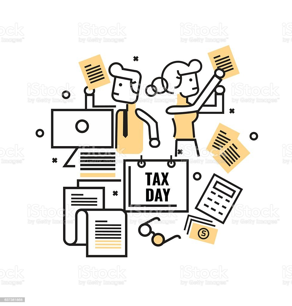 Busy Business people with Tax documents. Tax concept. flat thin vector art illustration