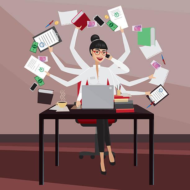 stockillustraties, clipart, cartoons en iconen met busy business woman - professioneel beroep