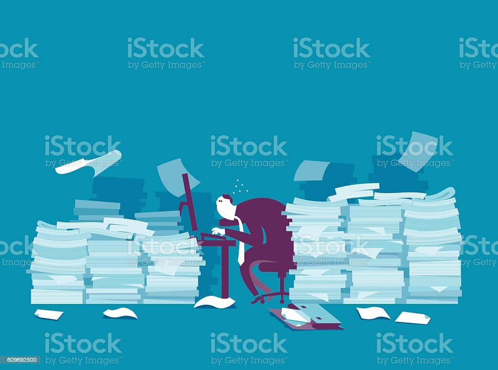 Busy businessman vector art illustration
