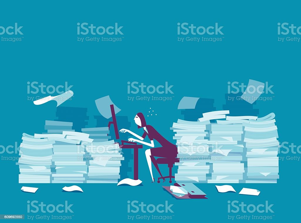Busy businesswoman vector art illustration