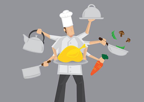 busy chef cartoon vector illustration - busy restaurant kitchen stock illustrations