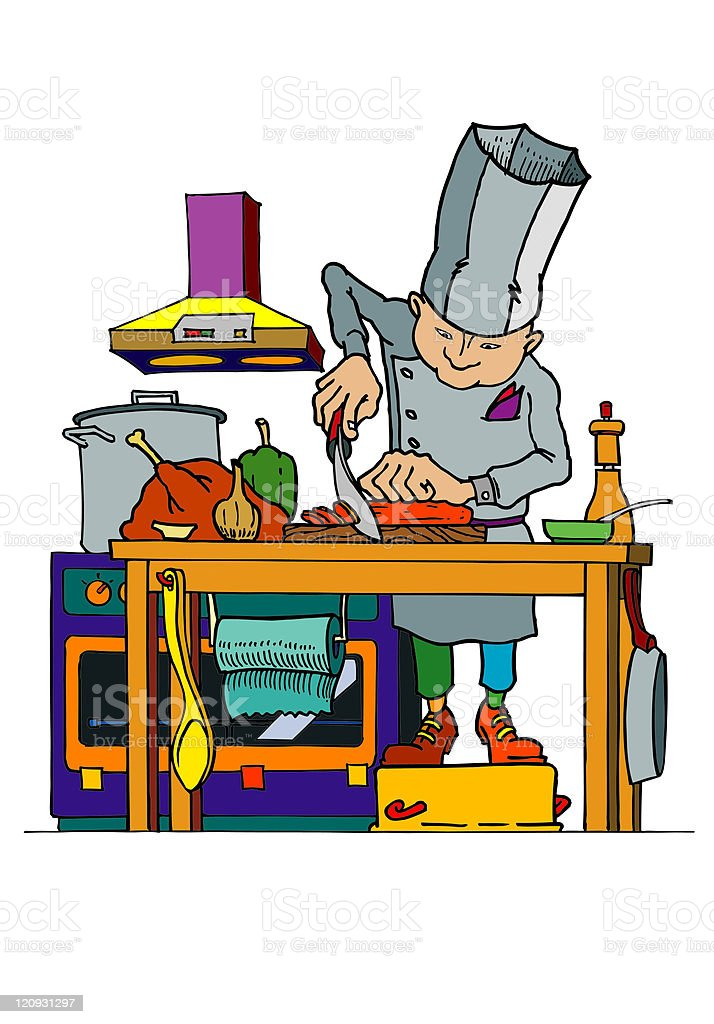 Busy Chef royalty-free stock vector art