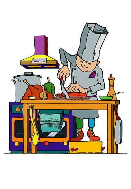 ilustraciones, imágenes clip art, dibujos animados e iconos de stock de el chef agitado - busy restaurant kitchen