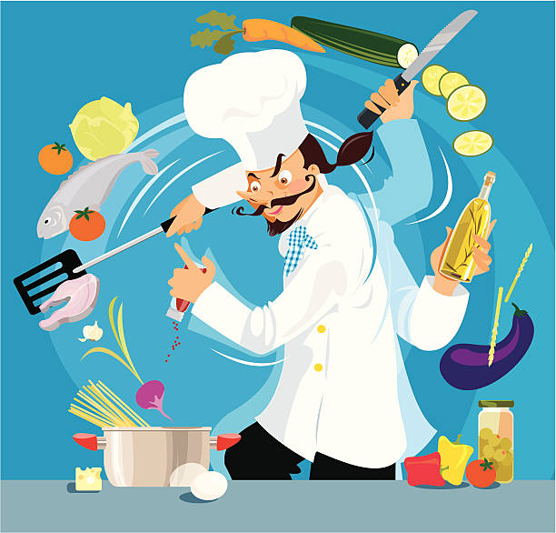 Occupato Chef - illustrazione arte vettoriale