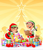 Vector illustration of busy Christmas Elves sorting and preparing Christmas presents in front of a brightly shining Christmas tree. Christmas background or card with space for text.