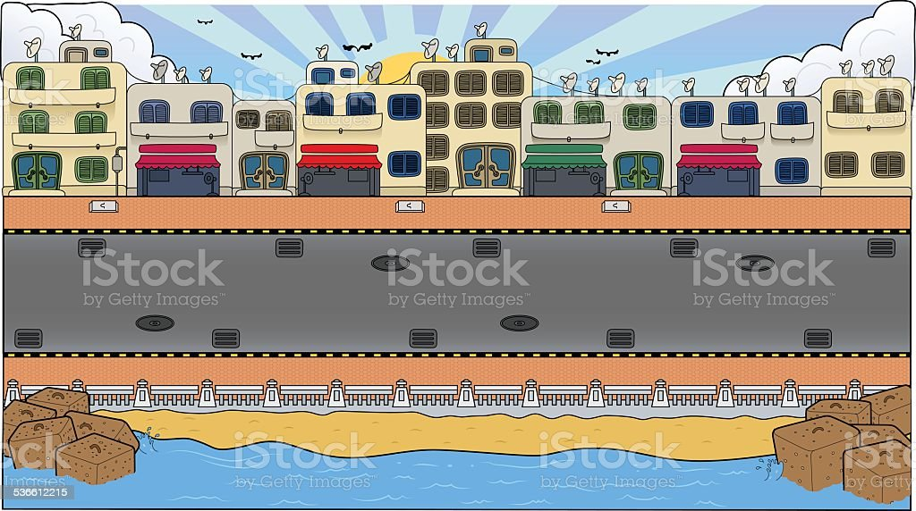 Busy City Background vector art illustration