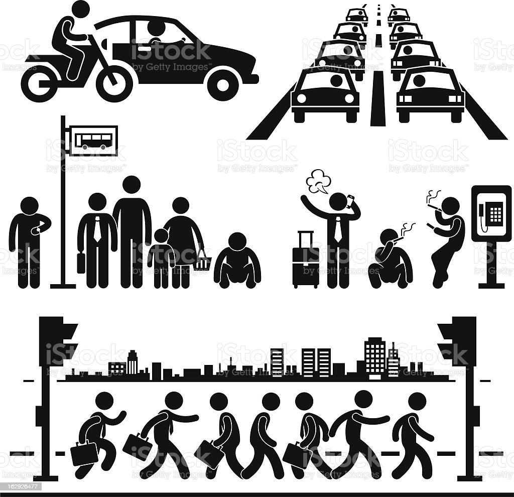 Busy City Life Pictogram vector art illustration