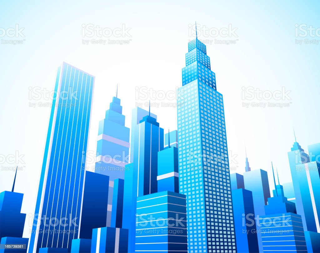 A busy city with beautiful building and sky scrapers vector art illustration