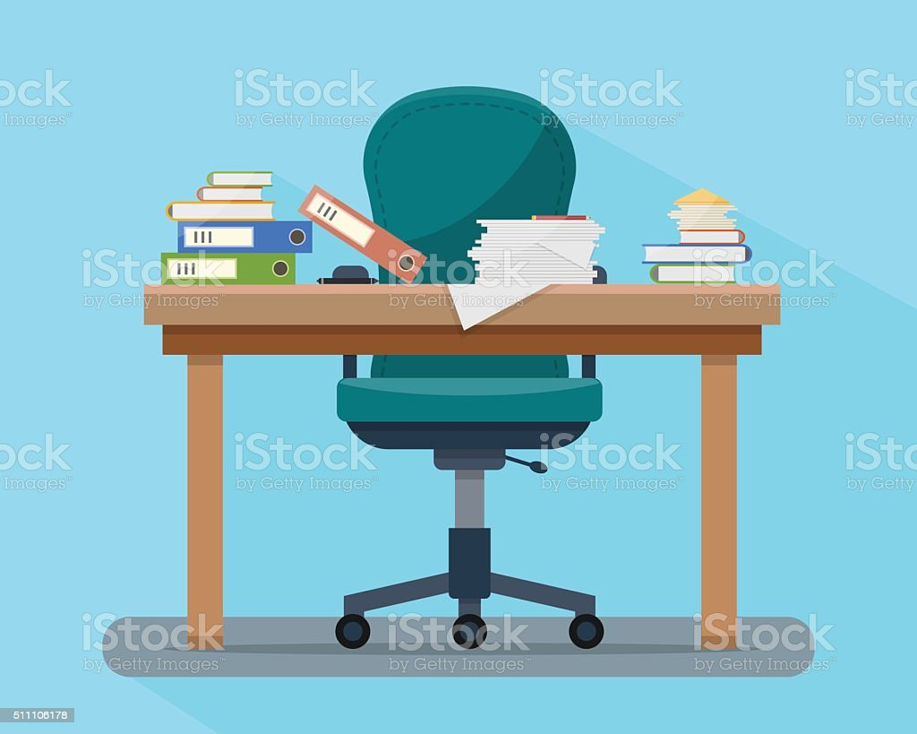 Busy cluttered office table. Hard work.. vector art illustration