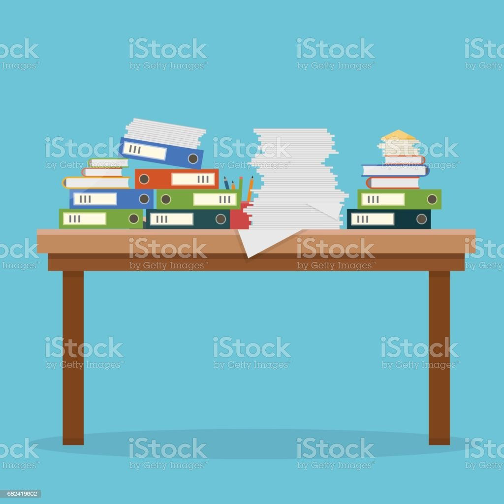 Busy cluttered office table. royalty-free busy cluttered office table stock vector art & more images of adult