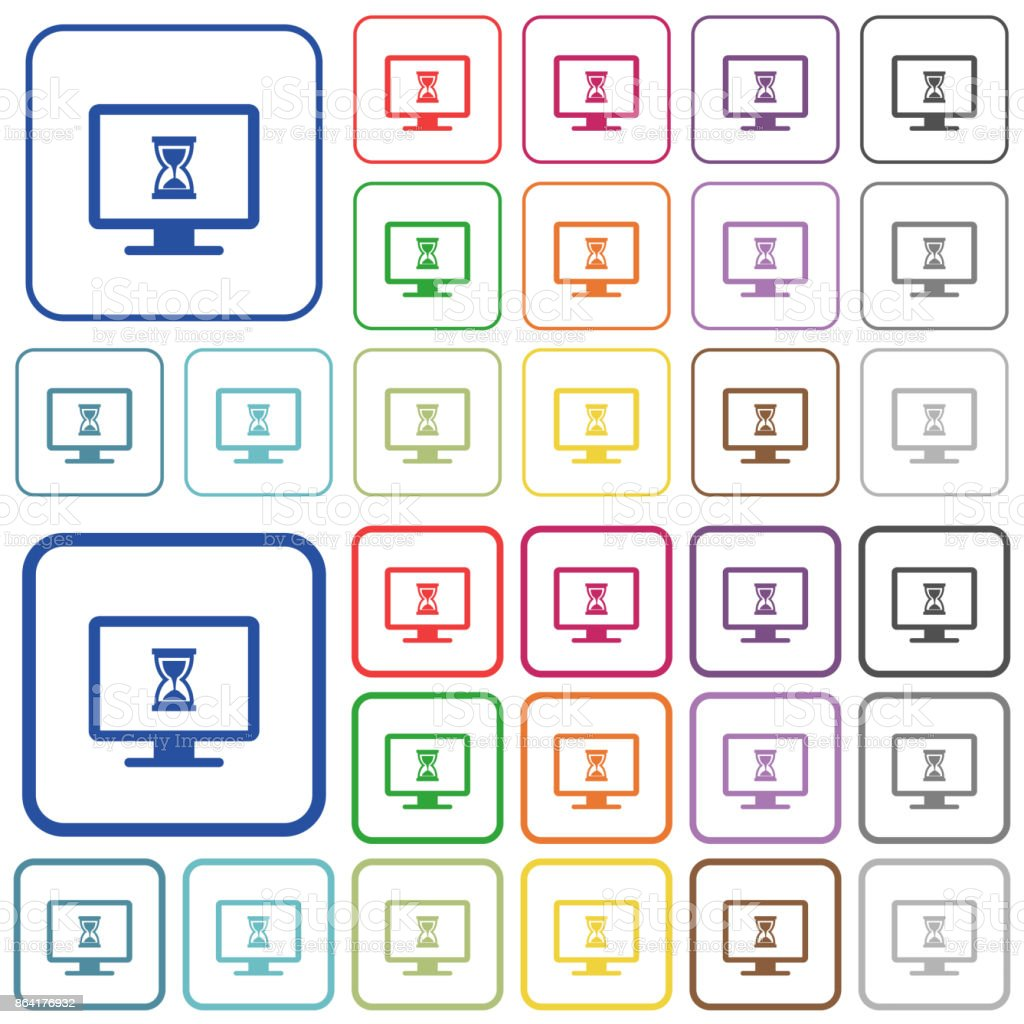 Busy computer outlined flat color icons royalty-free busy computer outlined flat color icons stock vector art & more images of appliance