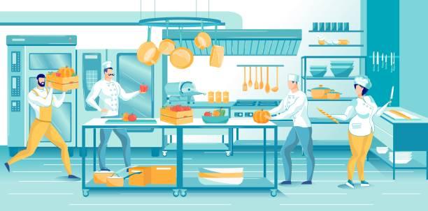 ilustraciones, imágenes clip art, dibujos animados e iconos de stock de ocupado personal culinario cocinando en restaurante cocina - busy restaurant kitchen
